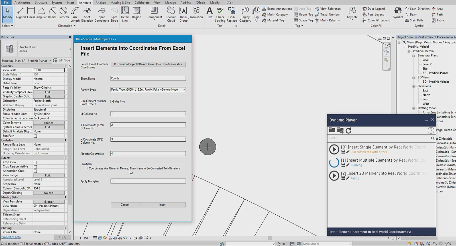 Dynamo script with interface