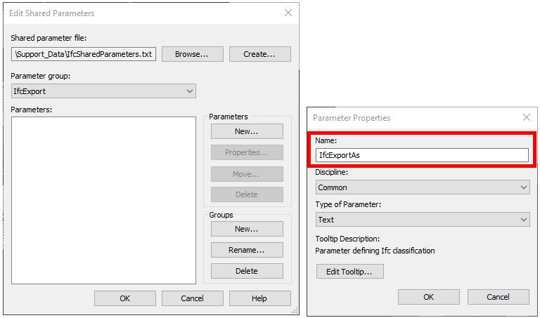 Adding IfcExportAs Revit parameter